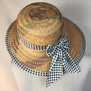 Vintage Polka Dot Straw Hat